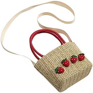 TOOGOO Summer Straw Hand Bag Women Small Woven Bohemian Crossbody Messenger Bag Cute Beach Shoulder Bags Strawberry Khaki