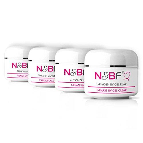N&BF UV Gel Probeset 4x5ml | Vorteilsset bestehend aus 1-Phasen Gel klar & pink, Make-Up Gel & French Gel | Sparset für Profis & Anfänger | Manicure Gelnagel Set