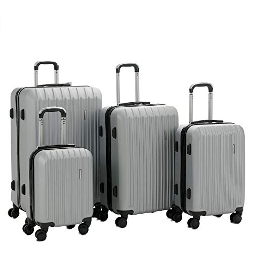 "GXP Silver 16"" 20"" 24"" 28"" 4PCS Luggage Travel Set ABS Spinner Bag Suitcase w/Lock (Color : Default)"