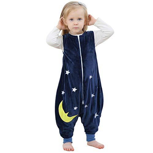 Riou Baby Winter Schlafsack mit füßen, Mädchen Junge Flanell Warm Babyschlafsack ohne Ärmel mit Beinen Overall Schlafanzug