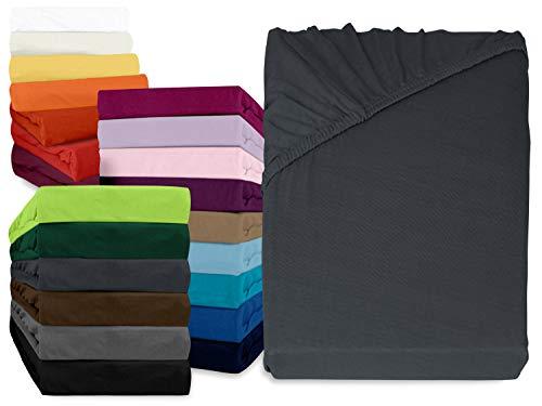 npluseins klassisches Jersey Spannbetttuch - erhältlich in 34 modernen Farben und 6 verschiedenen Größen - 100% Baumwolle, 90-100 x 200 cm, anthrazit