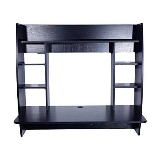 Wall Built-up Computer Desk Home-Use Durable Exquisite Room-Saving Modern Desk, Black