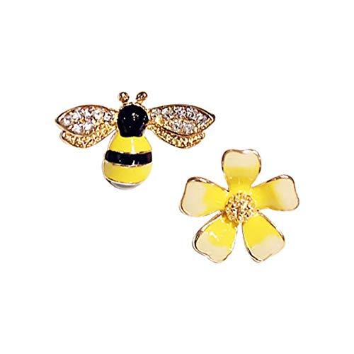 QIN Pendientes de Flor de Abeja Entusiasta Pendientes de Oreja de Flores asimétricas personalmente joyería Femenina