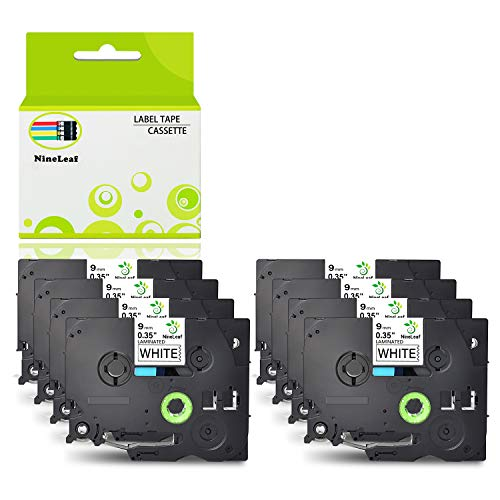 NineLeaf 8 Pack Replacement TZe-221 TZ-221 TZ221 Label Tape Black on White Standard Laminated Tapes 9mm Compatible for Brother P-Touch PT-D210 PTD400AD PTH110 Labeler Label Maker 0.35 Inch x 26.2 Feet