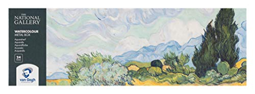 The National Gallery Van Gogh Watercolor Paint Set, Metal Tin, 24-Half Pan, A Wheatfield, with Cypresses