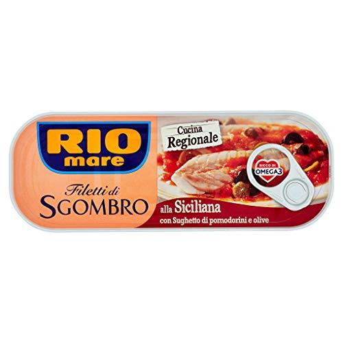 3x Rio Mare Filetti di Sgombro alla Siciliana Makrelenfilets mit Tomaten-Oliven-Sauce 120g reich an Omega 3