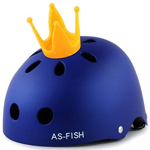 Kinder Rollschuh Helm Mädchen Sommer Schutzausrüstung Set Schlittschuhe Baby Fahrrad Kleinkind Schutzhelm Reiten-S Code mattblau + Krone_S [Für 3-6 Jahre alt]