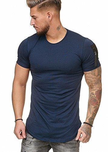 Oversize Herren Vintage T-Shirt Basic Shirt Round Neck Zipper Navy XXL