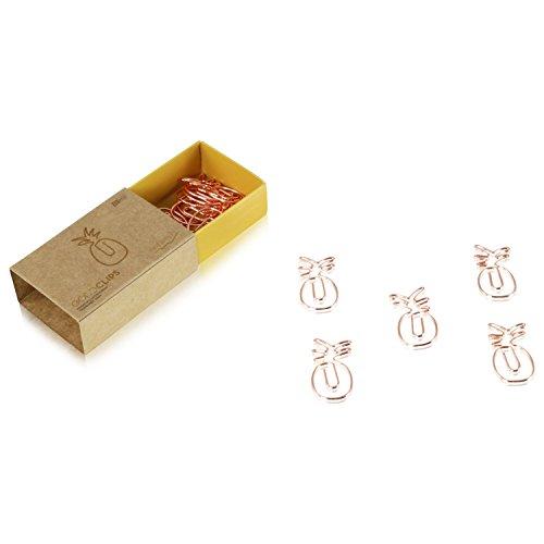 Goldclip Büroklammer - in Rosegold - Ananas, Pineapple - 15 Stück in jeder Verpackung