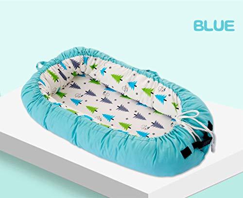 LNDD-Baby Nest 2 in 1 Baby Nest Kissen Cocoon Baby Lounger Bionic Uterus Cradle Matratzen Reisestoßstangen,Blau