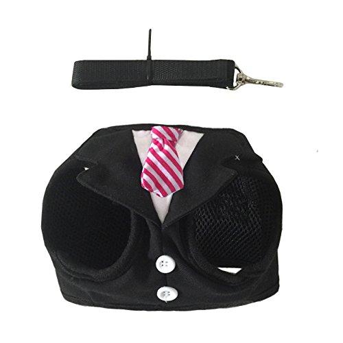 Mogoko Haustier Hunde Verstellbar Harness Hundegeschirr Welpengeschirr Brustgeschirr Anzug für Kleine Hunde Katze FBI Weste Geschirr mit Leine Set Mesh gepolstert S M L,schwarz (L)
