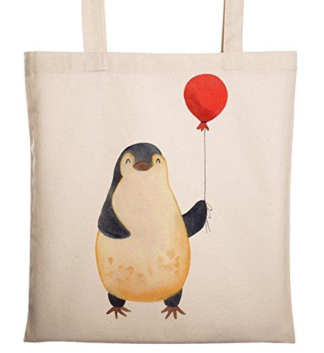 Mr. & Mrs. Panda Baumwolltasche, Einkaufstasche, Tragetasche Pinguin Luftballon - Farbe Transparent
