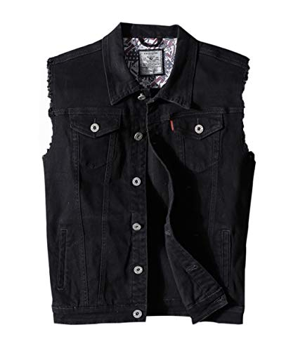 Heihuohua Men's Casual Button-Down Denim Vest Trucker Jean Jacket Black