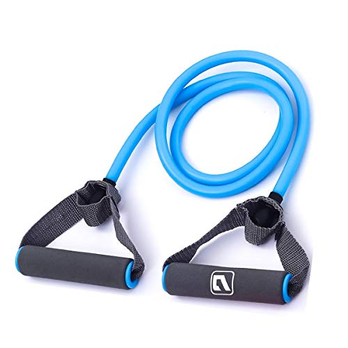 Liveup SPORTS Toning Tube Resistance Bands / Cord Pulley TPR Foam For Exercise Fitness Pilates Strength Training with Foam Handles Blue - 30lb