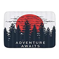 NINEHASA バスマット お風呂マット 山の木々に赤い太陽が隠された素朴な松林のキャンプを冒険が待っています バスマット 浴室 吸水 速乾 お風呂マット