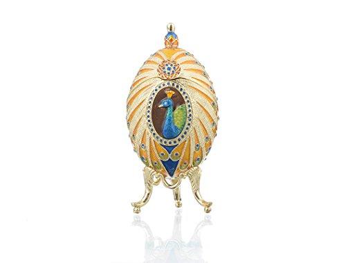 Colorful Peacock Faberge Egg Trinket Box