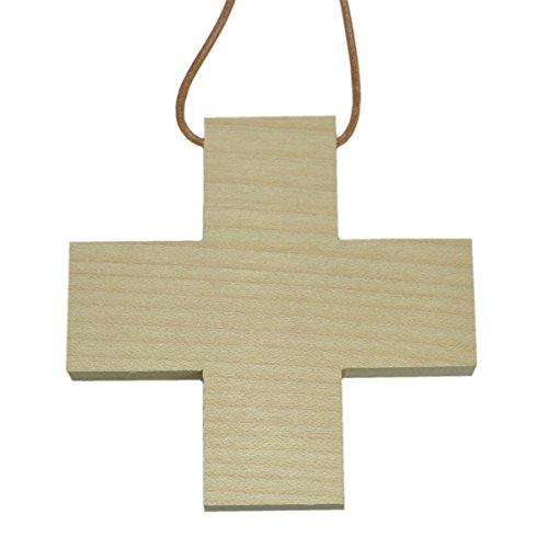 Junker Verlag Holz Kreuz blanko zum Selbstgestalten 9x9cm mit Lederriemen zum Umhängen
