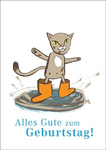 Schattige verjaardagskaart met kat in de regen