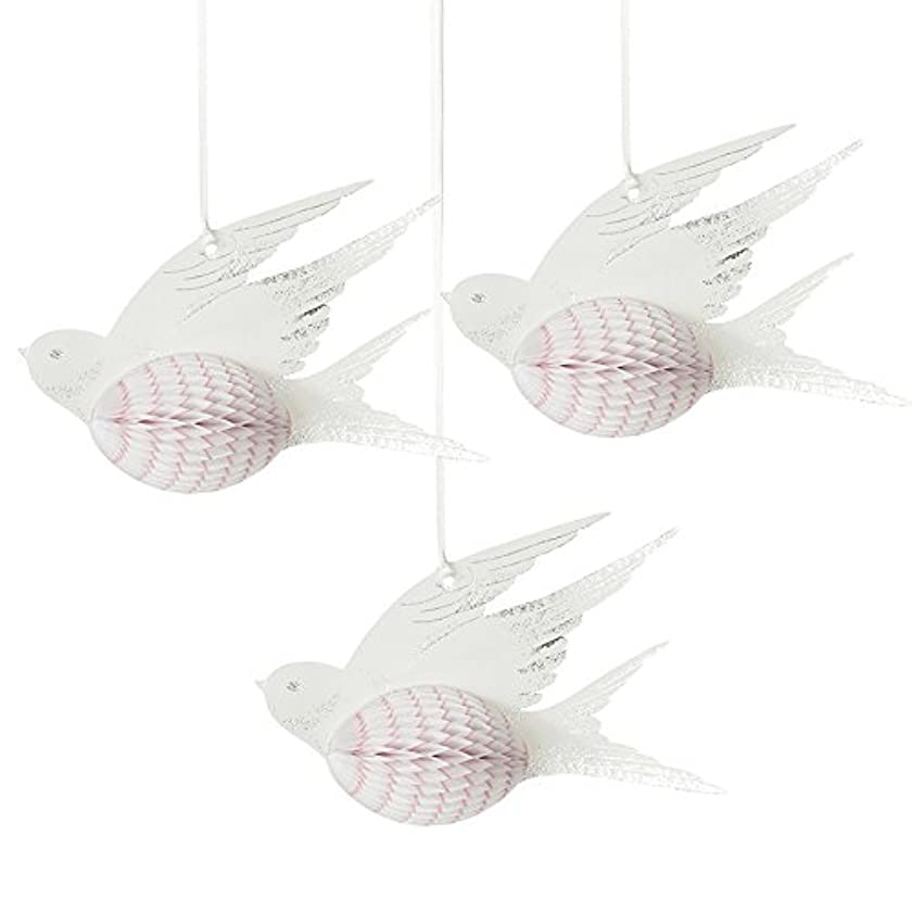 Talking Tables Decadent Decorations Honeycomb Birds White (3 Pack), Multicolor