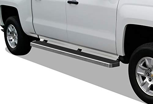 APS iBoard (Polished Silver 5 inches) Running Boards Nerf Bars Compatible with 2007-2018 Chevy Silverado GMC Sierra Double Extended Cab & 2019 2500 3500 HD (Exclude 07 Classic)