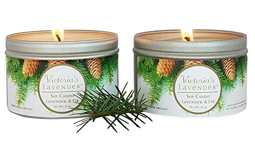 Victoria's Lavender Frasier Fir/Lavender Scented Candles | Essential Oil Aromatherapy Soy Wax Candle (2 Pack) | Made in USA