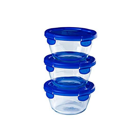 Pyrex® - Cook & Go - Lot de 3 boîtes de conservation en verre rondes avec couvercles hermétiques et étanches - ∅15cm - 0.7L - Sans BPA