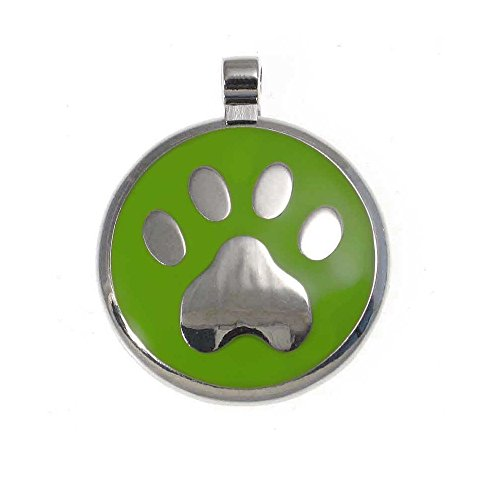 LuckyPet Paw Print Enamel Jewelry Pet ID Tag for Dogs and Cats, Personalized Engraving on The Back Side, Large (1 & 3/16 inches), Lime Green