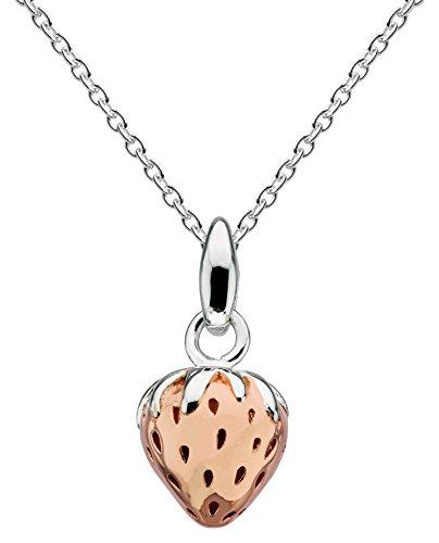 Dew 9462RG - Collana in argento Sterling e ciondolo a fragola placcato oro rosa, 45,7 cm