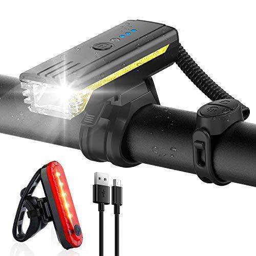 Luces Bicicleta Delantera y Trasera con Bocina y Luz Lateral, Linterna Bici con Remoto, 500 Lúmenes de Luz Bicicleta Delantera USB Recargable y Impermeable, con 4 Modos y Indicador de Batería