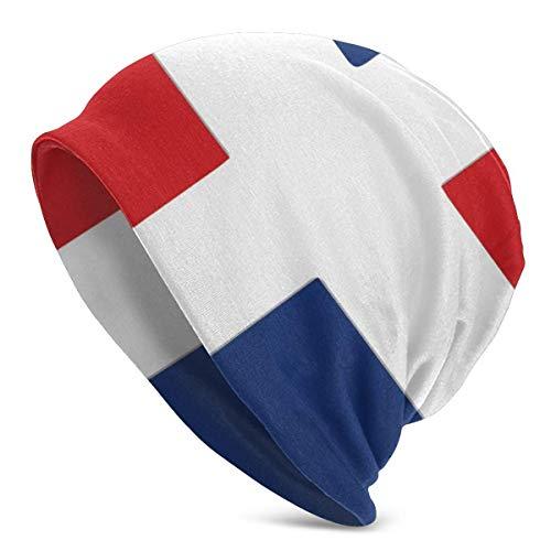 U Shape Dominikanische Republik Flagge 1Unisex Frauen Männer Slouchy Beanie Hut Übergroße Baggy Skull Cap Stretchy Strickmütze
