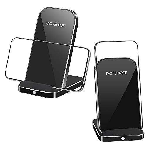 Bulusi Wireless Charger Stand,Aluminium 10W Qi Fast Wireless Charging Stand Dock Station Holder Pad for iPhone x/xs/xs max/xr/Samsung s10/s9/s8/s7/note9/8/LG G2/3/10,All Qi-Enabled (Black, B01)