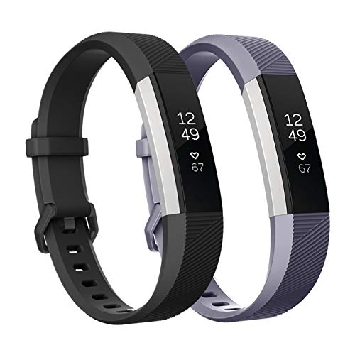 Fundro Replacement Bands Compatible with Fitbit Alta Bands and Alta HR Band, Newest Sport Strap Wristband with Secure Buckle for Women Men Boys Girls, 2- Pack (Large, A Black+Gray)