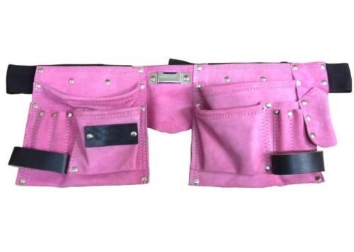 Toolzone 11 Pocket Pink Double Leather Tool Pouch Includes Tape/Hammer Holder