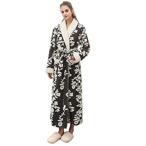 VJGOAL Mujeres Invierno Moda Casual Imprimir Alargada Bata cálida Coralline Felpa Chal con Cordones Albornoz de Manga Larga túnica Abrigo Pijamas(XXX-Large,Negro)