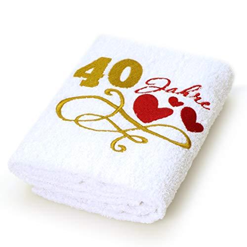 Abc Casa Geschenk-Handtuch zum 40 Geburtstag mit aufgestickten Herzen und 40 Jahre für Frauen und Damen - eine praktische 40 jähriges Jubiläum Geschenkidee - nützliches 40 Jahre Geburtstagsgeschenk