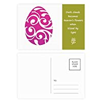 イースター祭紫色の卵のデザイン 詩のポストカードセットサンクスカード郵送側20個