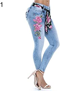 BEESCLOVER Fashion Embroidery Flower Elastic Skinny Jeans Women Long Pencil Pants Trousers