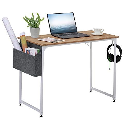 Mesa de ordenador con bolsa de almacenamiento y gancho, mesa de oficina, mesa de trabajo, para oficina, salón, escuela, escritorio industrial moderno para escribir en la oficina, roble