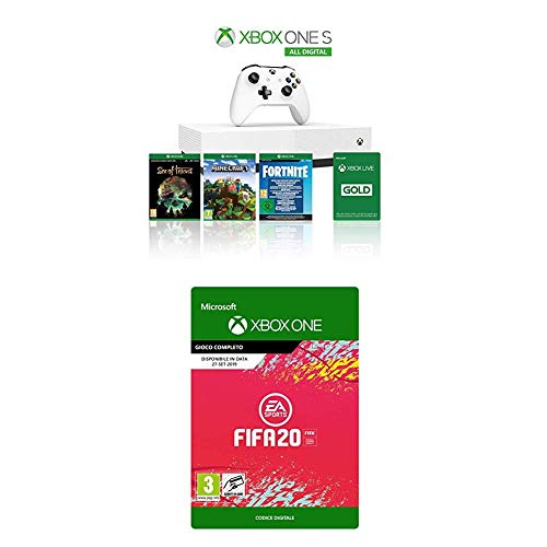 Xbox One S 1TB - All Digital Edition Console + 1 Mese Xbox Live Gold + 4 Digital Games (Sea of Thieves, Minecraft, Fortnite Legendary Evolving Skin & 2000 V-Bucks, FIFA 20 [Codice Download])