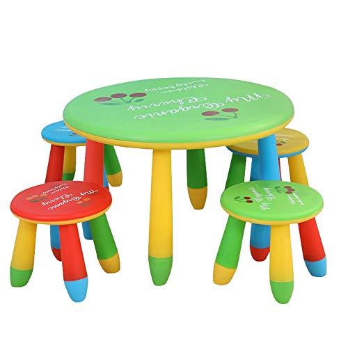 MZXUN Niños Estudio Teórico Juego de sillas for niños Mesa y Silla Conjunto niño de los Cabritos Muebles de Comedor al Pintura de Lectura Sala de Juegos (Color: Verde, Tamaño: 70x47 / 28x25cm)