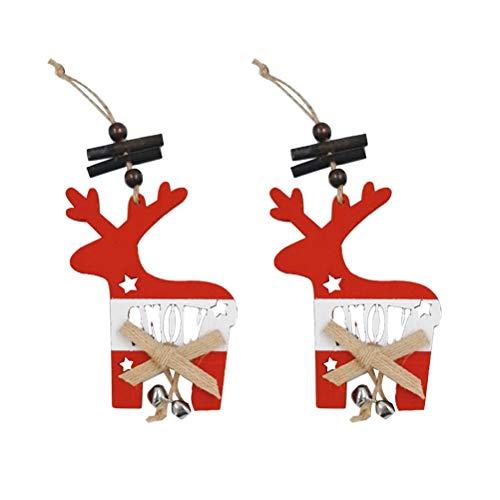 KESYOO 2 peças de pingentes pequenos de Natal de madeira, árvore de Natal, floco de neve, alce e sino, decoração de pendurar mini desenho de Natal para tetos, quintal, varanda, janela, decoração de alce