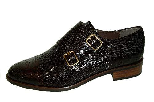 Pertini 15216, Zapato Abotinado Piel Monroe castaña con Hebillas