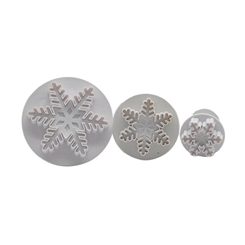 DeColorDulce Flocon de Neige Set emporte-pièces avec éjecteur, Acier, Blanc, 28 x 12 x 4 cm, Lot de 3