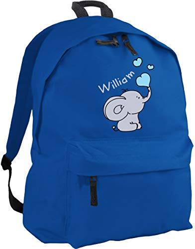 HippoWarehouse Personalised Any Name Baby Elephant Blue Backpack ruck Sack Dimensions: 31 x 42 x 21 cm Capacity: 18 litres