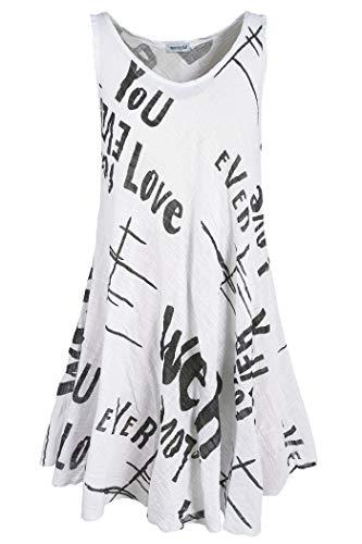 PEKIVESSA Strandkleid Damen große Größen Hängerkleid A-Linie Weiß 48-50 (Herstellergröße 2XL/3XL)