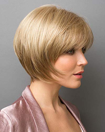 """Audrey Wig Color Chestnut - Noriko Wigs Short 6"""" Layered Bob Angled Sides Synthetic Average Cap"""