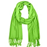 Falari Women's Solid Color Pashmina Shawl Wrap Scarf 80' x 27' Lime Green