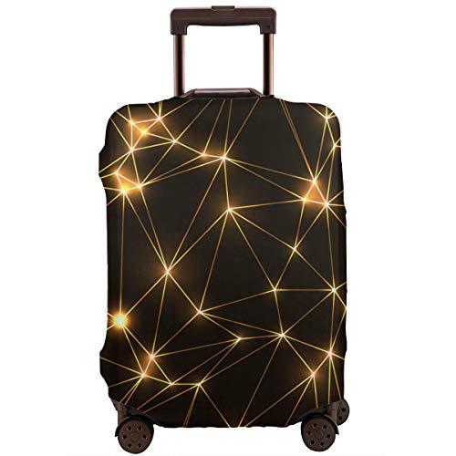 Custodia Protettiva per Valigie Triangoli Al Neon Dorati Poligono Basso Geometrico con Stelle e Linee Al Neon Dorate Protezione per Valigia da Viaggio XL