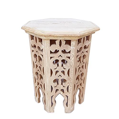 Tavolino marocchino in legno di cedro grezzo traforato a mano