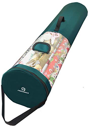 Freegrace Gift Wrap Organizer | Large 9' x 40.9' Wrapping Paper Rolls Storage Bag | Tearproof & Space Saving Under Bed Gift Bag Organization (Forest Green)